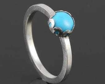 Turquoise Stacking Ring. Sterling Silver. December Birthstone. Genuine Turquoise. Ready to Ship. Size 5.5. s17r016