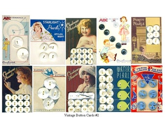 Vintage Button Cards No. 2 - Digital Collage Sheet - Instant Download