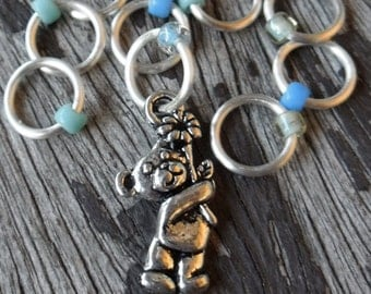 Small Snag Free Knitting Stitch Markers Progress Marker Silver Tone Teddy Bear With Flower Fits Needles Up To 4.5mm