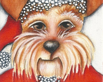 Santa Dog, Decoration, Christmas Holiday Print on Wood, stocking stuffer, gift for dog lover, wall art,folk art Santa Dog,wood block art
