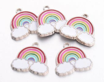 4 rainbow and cloud charms 19x20mm kitsch enamel silver tone #99