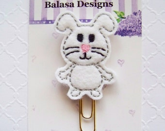 White Easter Bunny Planner Clip, Bookmark, Planner Accessory, Paper Clip