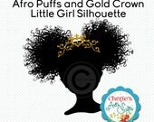 Afro Puffs & Gold Crown Girl Silhouette | Silhouettes | Clip Art | Little Girls Silhouettes | Instant Digital Download | Afro Puffs Clipart