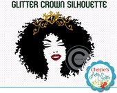 Gold Glitter Crowned Woman Silhouette | Faux Gold Glitter Crown | Afro Hairstyle Woman Silhouette | Woman Cameo | Silhouettes | Cliparts