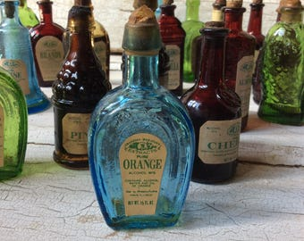 "Blue Wheaton Miniature Horse Shoe Bottle ""Grandma Wheaton's Pure Orange Extract"" Original Label"