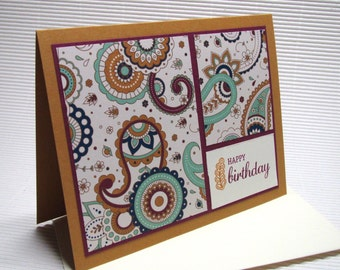 Happy birthday card handmade stamped paisley purple mustard masculine modern flat stationery greeting party paper goods