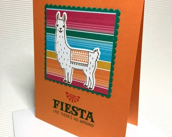 Happy birthday card handmade stamped llama blanket fiesta like there's no tomorrow bright colorful stationery greeting party paper