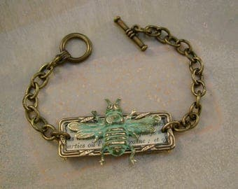 Abeille - Antique Fraternal Medal French Text Patina Bee Recycled Repurposed Jewelry Bracelet
