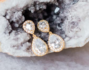 Crystal and Gold/Rose-Gold Teardrop Earrings, Jodie