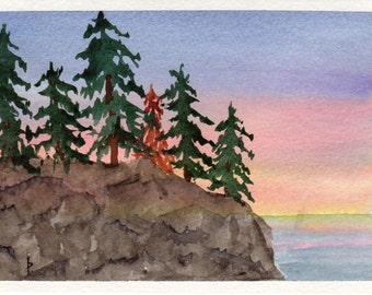 Original watercolor painting GREETING card SFA Pacific NW sunset sunrise