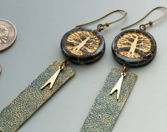 Tree of Life Earrings. Blue and black Czech glass beads paired with handmade and vintage charms.