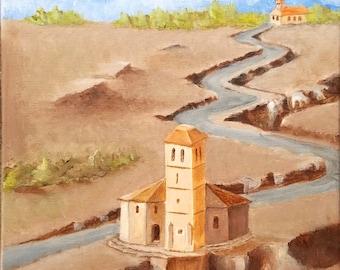 "Spanish Landscape Original Acrylic Painting 10"" x 20"""