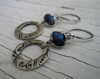Winterberry Earrings in Labradorite - Handmade. Wire wrapped Labradorite. Oxidized fine silver