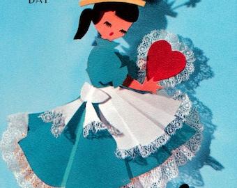 Vintage Hallmark Secret Pal UNUSED Doll Valentine's Day Greetings Card (B17)