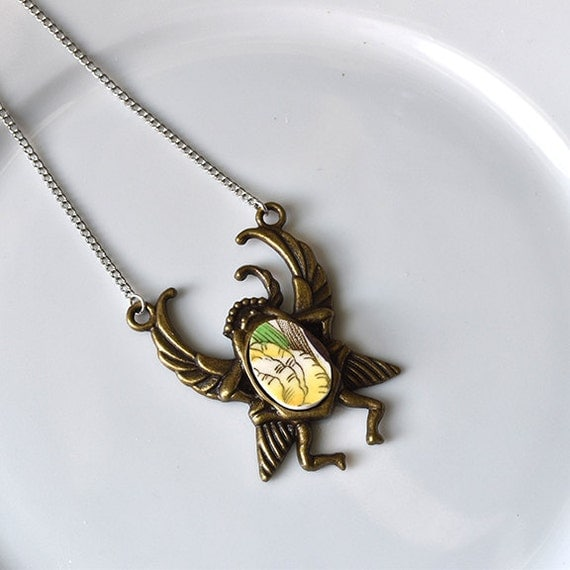 Antique brass Egyptian Scarab Broken Plate Pendant - Green and Yellow - Recycled China