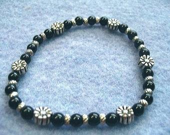 Black Jade Stone Bead Bracelet, Silver Flowers Stretch Bracelet, Handmade Beaded Jewelry Design