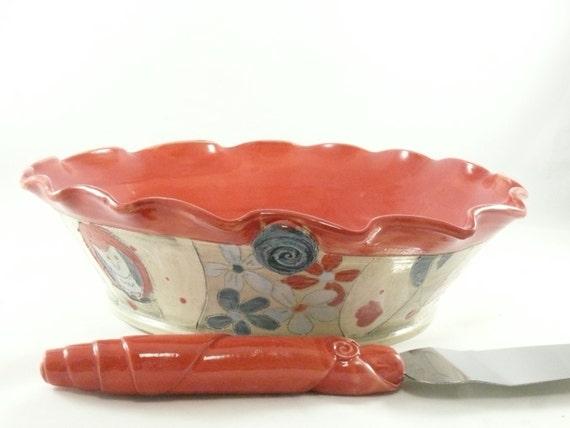 Pie Baking Pan in Woodland Forest Design - Kitchen bakeware - Red Pie Plate - Pie Dish pottery and ceramics,  Quiche Baker