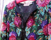 80s Vintage Sequined and Beaded Cropped Jacket with Rosettes and Leaves. Size Small or Medium