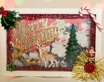 Vintage Retro Christmas Shadowbox Diorama Santa Reindeer Wall Decoration