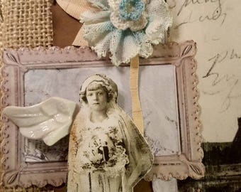 Brocante vintage collage angel wing eiffel tower burlap shabby chic decor