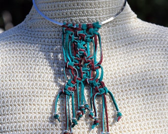 Leather Macrame Long Silver Choker Necklace - textured jewelry - burgundy and green - suede necklace - boho - bohemian chic
