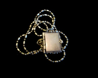 Sterling Silver Book Locket Necklace - Vintage