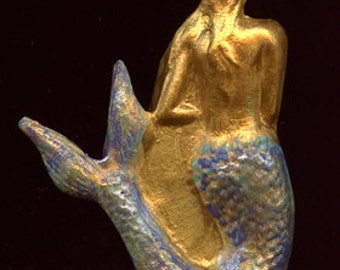 Polymer Clay Textured Golden  Mermaid Cab   Undrilled  MMG 1