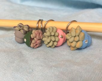 Miniature Succulent, Cute Plant, Miniature Greenery, Stitch Markers, Gift for Her, Knitting Notions, Knitting Tool, Crochet Tool