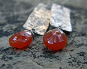 rustic stamped, textured silver earrings with juicy orange carnelian - oxidized silver