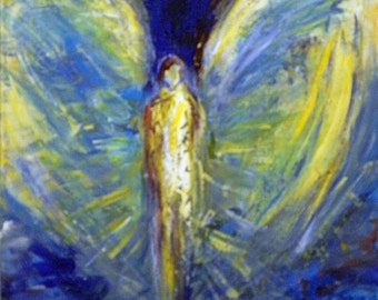 ORIGINAL Angel Art Oil Painting Blue ANGEL from Vision of Angels Series 20x16 by BenWill