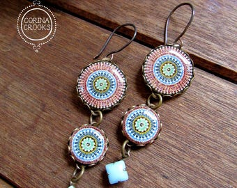 Moroccan pottery design earrings, Arab jewelry style, dangle earrings, Bohemian fashion, long earrings, Bohemian jewelry, ethnic earrings