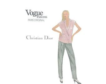 80s uncut Dior pattern vintage Vogue Paris Original 31.5-24-33.5 Double Breasted Jacket Double Breasted Suit vogue 1073