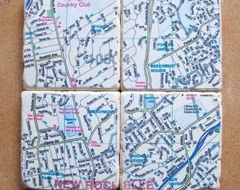 Realtor Closing Gift Map Coasters - Set Of 4