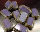 50% OFF 12 Czech Glass Beads 8x12mm Opaque Purple Picasso Table Cut Rectangle Beads (G - 413)