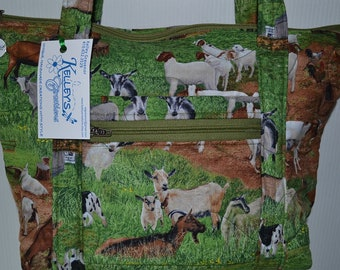 Quilted Fabric  Handbag Purse with Adorable Goats