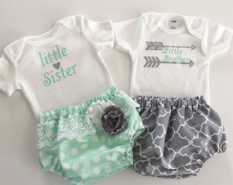 Little sister/ brother SIBLING twin set.... or separate --- onesie and diaper cover set. Brother and sister newborn outfits--- mint and grey