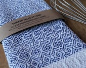 Royal Blue Kitchen Towel Handwoven Sustainable Organic Cotton Linen