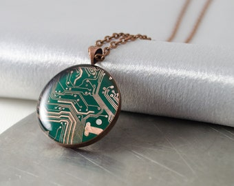Circuit Board Necklace Copper, Recycled Computer Jewelry, Gifts for Engineers, Wearable Technology, Gift for Computer Science Major, Geekery