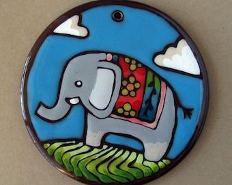 Hand-painted ceramic elephant Christmas ornament holiday decor