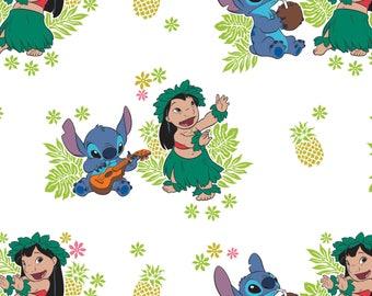 "Ohana in White Lilo and Stitch Disney Woven Cotton Fabric 28"" REMNANT"