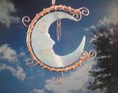"Stained Glass Moon, Sculpture, Garden Art, Mobile, Wall Hanging, Home Decor, Celestial, Copper Moon, Porch Hanging, Sun Catcher, ""Moon Man"""