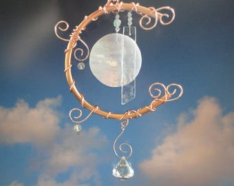 Moon Sculpture, Stained Glass Full Moon, Wind Chime, Garden Art, Wall Hanging, Mobile, Celestial, Iridescent, Metal, Copper, Home Decor