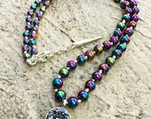 RESERVED CUSTOM LISTING Rainbow Peacock Gemstone Choker Necklace, Bracelet, & Stud Earring Set w/ Rainbow Hematite, Druzy Pendant