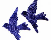 Pair DARK Blue Velvet BIRDS Millinery  Pressed Pieces Large  Embossed from Antique Molds Teal Deep Midnight MORE AVAlLABLE