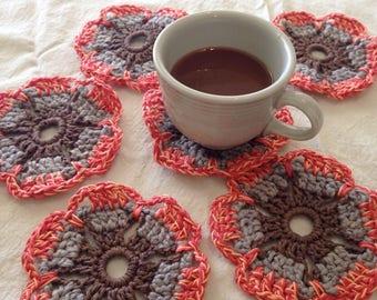 Crochet Coasters-Coral