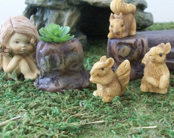 Set of 3 miniature squirrels with tree trunk planters,  terrariums or table top decoration