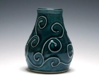 Teal Vase, Small Vase, Swirl Design, Bud Vase, Home Decor, Handmade Pottery