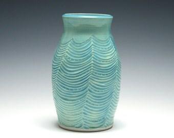 Turquoise Vase, Wave Design, Turquoise Pottery, Aqua Blue Ceramics, Home Decor, Handmade Pottery Vase