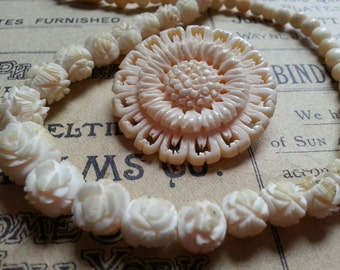 Vintage Bone Necklace and Brooch. Wear or Repurpose.