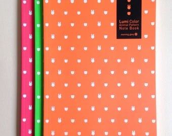 stationary set ++ 3 neon rabbit bear limited edition lined notebooks ++ unique Korean stationary